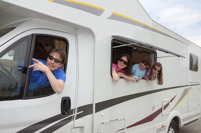 Family in an RV on the Move